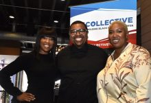 From left: Actress Regina King poses with The Collective PAC organizers Quentin James and his wife Stephanie Brown James. (Robert Roberts/The Washington Informer)