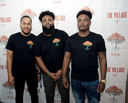 From left: The Village Café co-owners and Woodrow Wilson High School graduates Ryan Williams, Mahammad Mangum and Kevon King (Photo by Lateef Mangum and The Village Cafe)