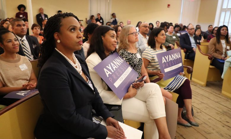 **FILE** Massachusetts Congressional candidate and Boston City Councilor Ayanna Pressley listens as Suzanne Lee introduces her during a campaign fundraiser and event for communities of color at the Museum of African American History in Boston on May 22, 2018. Pressley is challenging incumbent Michael Capuano for the Seventh Congressional District seat. (Photo by Matthew J. Lee/The Boston Globe via Getty Images)