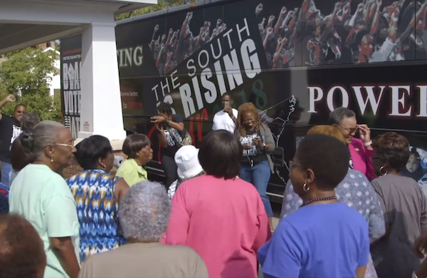 Officials in Jefferson County, Georgia, are accused of voter suppression after preventing a bus from taking a group of Black senior citizens to vote on Oct. 15. (Screen grab courtesy of Black Voters Matter)