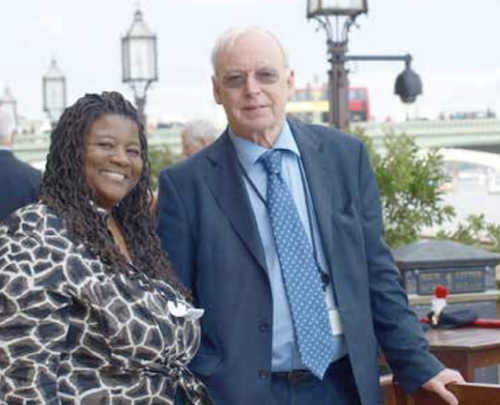 WI Special Editions Editor Shantella Sherman (left) and Lord Clive Soley (Photo by Sherry Ann Dixon)