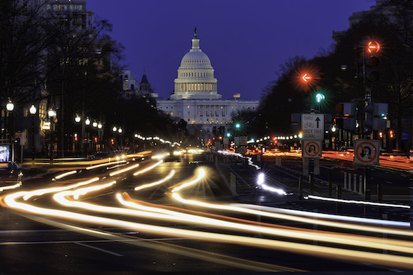 Pennsylvania Ave to US Capitol with Streaked lights going towards US Capitol in Washington DC. during rush hour PM. (Photo by: Visions of America/UIG via Getty Images)