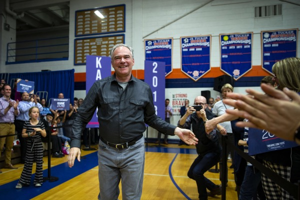 Senator Tim Kaine, a Democrat from Virginia, arrives during a campaign rally for Abigail Spanberger, Democratic U.S. Representative candidate from Virginia, not pictured, in Henrico, Virginia, U.S., on Monday, Nov. 5, 2018. The most expensive midterm campaign in U.S. history raced to a finish ahead of Tuesday's election, as both sides braced for a possible split decision that would hand the House to Democrats and leave Republicans holding onto or expanding their Senate majority. Photographer: Al Drago/Bloomberg via Getty Images