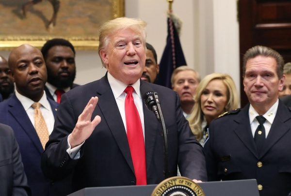 President Donald Trump makes an announcement regarding the First Step Act prison reform bill in the Roosevelt Room at the White House on Nov. 14, 2018. (Photo by Mark Wilson/Getty Images)