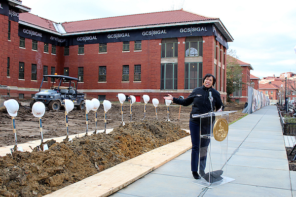 D.C. Mayor Muriel Bowser prepares to break ground on 202 affordable housing units at St. Elizabeths East Campus in Ward 8 on Nov. 27. (Brigette Squire/The Washington Informer)