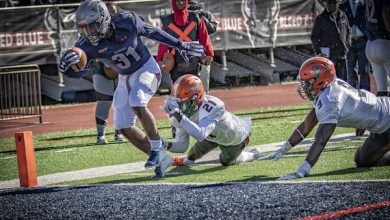 Howard sophomore running back Dedrick Parson scores a TD in the 31-23 home win over Florida A&M on Nov. 3. (Courtesy of Howard University)