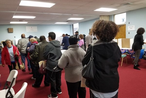 Dozens line up to vote on Election Day at Clinton United Methodist Church in Brandywine, Maryland, on Nov. 6. (William J. Ford/The Washington Informer)