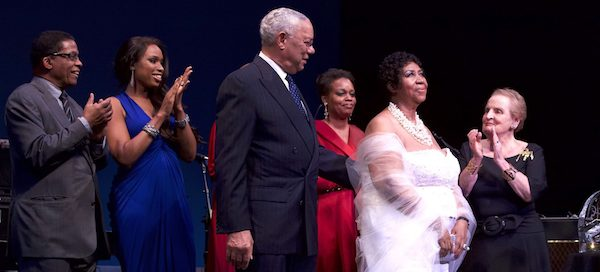 The late music icon Aretha Franklin receives the Institute's Maria Fisher Founder's Award in 2011 at the Kennedy Center with (from left) Institute Chairman Herbie Hancock, Jennifer Hudson, Colin Powell, Dianne Reeves and Madeleine Albright. (Photo by Steve Mundinger and the Institute)