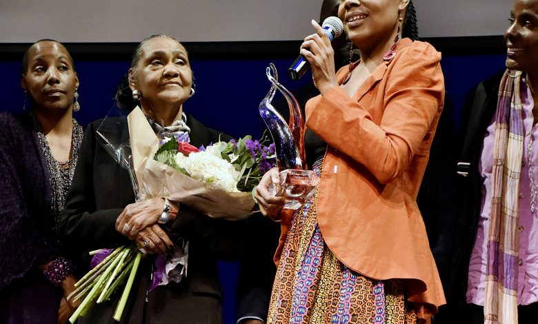 """An evening celebrating 81 years of life for Lillian Estelle Smith Gregory, the wife of the late great Dick Gregory was held Nov. 26, at the Montgomery College Cultural Arts Center in Silver Spring, Md. Gregory received a lifetime achievement award as """"The Quiet Warrior"""" presented by her daughter Ayanna Gregory. (Rob Roberts/The Washington Informer)"""