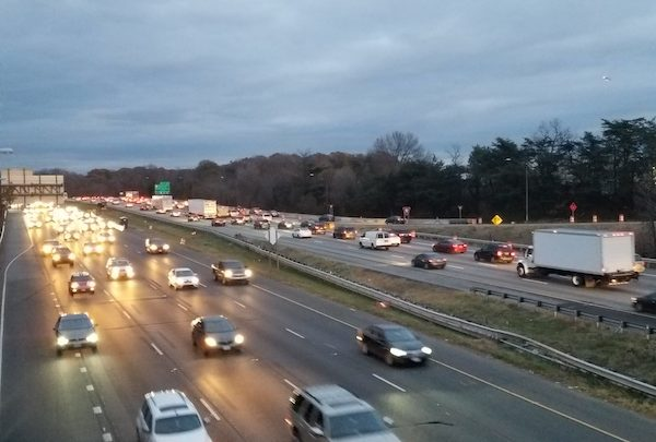 Rush hour rraffic flows along Interstate 95 in Morningside, Maryland, on Nov. 27. (William J. Ford/The Washington Informer)