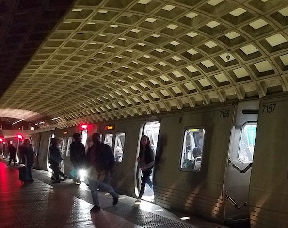 Metro riders exit a Red Line train at the Gallery Place-Chinatown station in D.C. on Nov. 2. (William J. Ford/The Washington Informer)