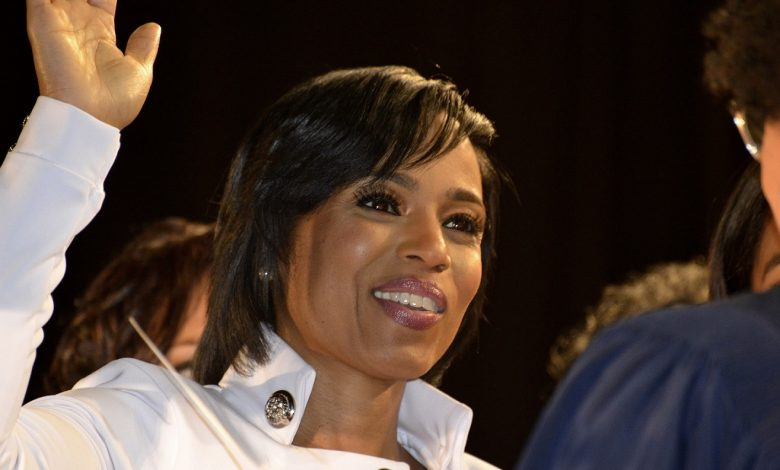 Angela Alsobrooks is sworn in as the first woman elected Prince George's County executive during an inauguration ceremony at the Show Place Arena in Upper Marlboro on Dec. 3. (Robert Roberts/The Washington Informer)