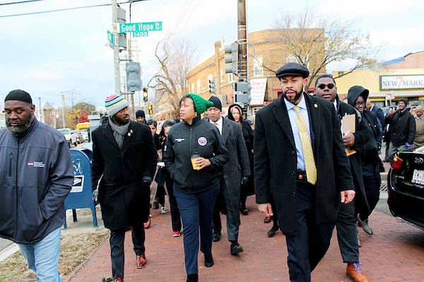 D.C. Mayor Muriel Bowser walks through Southeast. (WI photo)