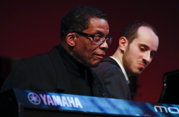 Thelonious Monk Institute of Jazz Chairman Herbie Hancock and Tom Oren, winner of the institute's 2018 International Piano Competition, perform during the annual competition gala at the Kennedy Center Eisenhower Theater in D.C. on Dec. 3. (Paul Morigi/Getty Images for Thelonious Monk Institute of Jazz)