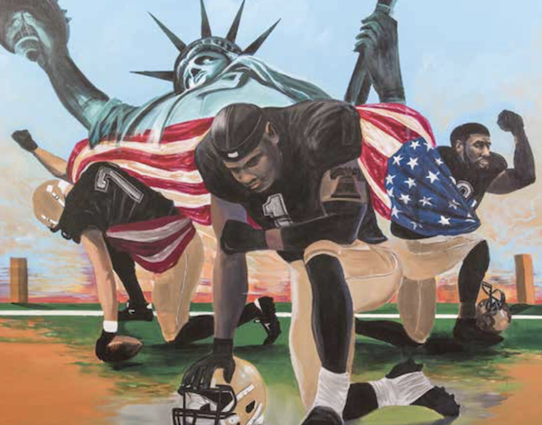 """OneUnited Bank, America's largest Black-owned bank, is """"Taking a Knee"""" for social justice to underscore its commitment to the issue in a partnership with the ACLU and the BMe Community. The initiative includes the commissioning of a painting (pictured), """"Last Man Standing,"""" by acclaimed artist Addonis Parker. The effort confirms their support of the controversial """"Take a Knee Movement"""" and continues an eight-week campaign during which the bank will donate to related charities for every account opened now until year's end. (Artwork illustration courtesy of OneUnited Bank)"""