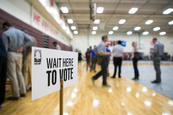 **FILE** Voters line up to cast their ballots at a polling station set up at Grady High School for the midterm elections on November 6, 2018 in Atlanta, Georgia. (Photo by Jessica McGowan/Getty Images)