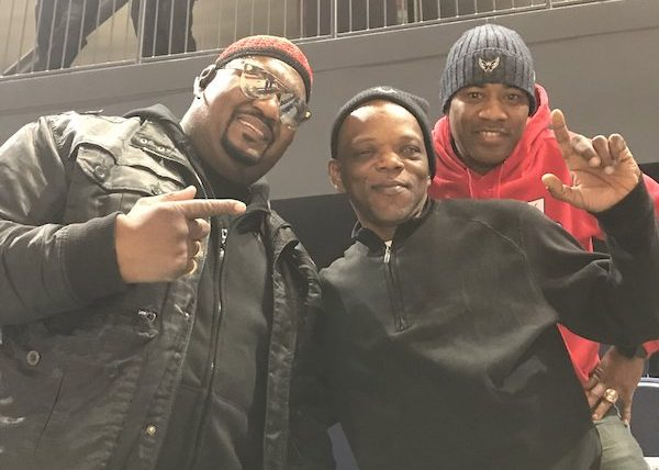 "Big Tony of Trouble Funk, Darin X of Rare Essence and Blue-Eyed Darrly of Junkyard Band attend Capital City Go-Go's ""Go-Go'n Home for the Holidays"" during a Dec. 8 game against the Raptors 905 at St. Elizabeths Entertainment and Sports Complex in southeast D.C. (The Washington Informer)"