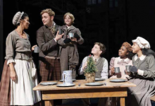 """Yesenia Iglesias and Gregory Maheu as the Cratchits and (children) Aidan Fuller, Vaughn Mussmon, Madison K. Fields and Ariel Russell in Ford's Theatre's """"A Christmas Carol,"""" now through Dec. 30. (Photo by Scott Suchman)"""