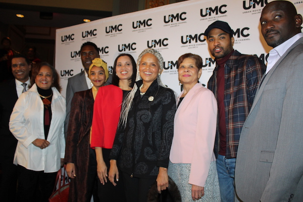 "Actors from the miniseries ""Jacqueline and Jilly"" with Congressman Bobby Scott. (From left): Tracey B. Wilson, Lamont Easter, Ginger Clark, Charmin Lee, Rep. Bobby Scott (D-Va.), Victoria Rowell, Daphne Maxwell Reid, Richard Brooks, Christen Roberts, J. Shawn Durham and Shannon Wallace at the Lincoln Theatre for the premiere of the production about opioid addiction epidemic on Dec. 10, 2018 in which they all star. (Brigette Squire/The Washington Informer)"