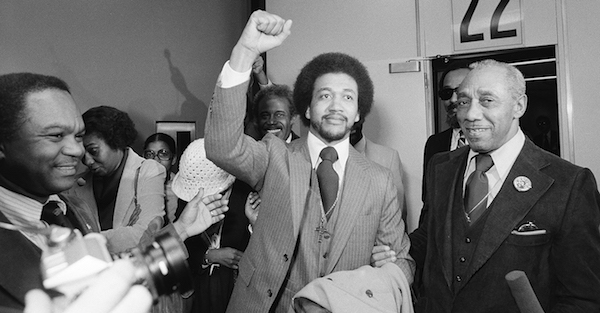 The Rev. Benjamin Chavis gives a clenched fist salute on December 14, 1979, after being paroled by then-North Carolina governor Jim Hunt. (Courtesy of NNPA Newswire)