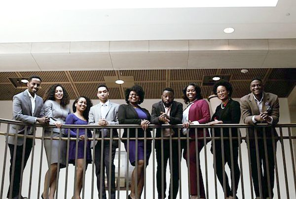 The 116th Congress will count as the most diverse in history, but top staff positions are still absent of individuals of color. Seen here are (from left) Sam Negatu, Francesca McCrary, Desiree Wroten, Didier Barjon, Audra Jackson, Earl Ash, Rasheedah Hasan, Symonne Smith and Keenan Hale. (Courtesy of blackcapitol.com)
