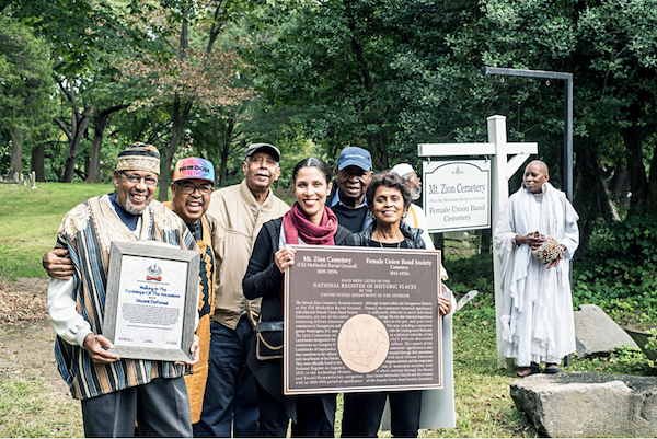 Board members of the historical Black preservation project in Georgetown - Mt. Zion Church - Female Union Band Society Cemetery at a libation ceremony (Courtesy of Mt. Zion Church-FUBS)