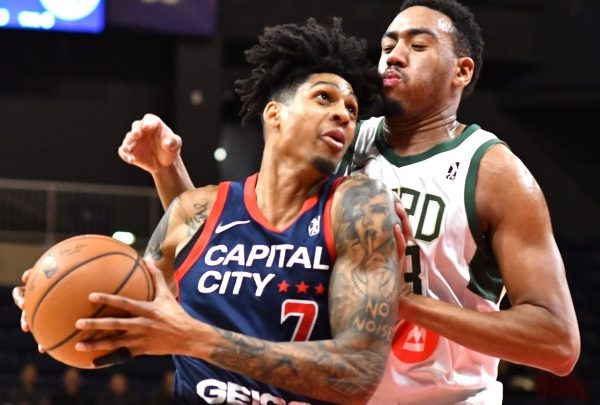 Capital City Go-Go forward Devin Robinson (left) had 20 points and four rebounds in a 109-105 home loss to the Wisconsin Herd on Jan. 19. (John E. De Freitas/The Washington Informer)
