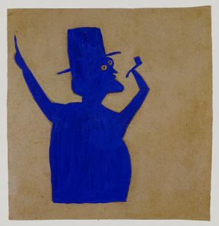 """""""Truncated Blue Man with Pipe"""" (ca. 1939-1942) by Bill Traylor. (Photo courtesy Smithsonian American Art Museum)"""
