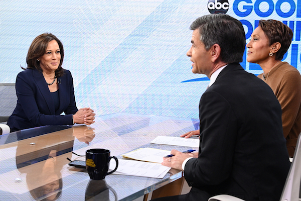 "Sen. Kamala Harris appears on ABC's ""Good Morning America"" on Jan. 21, 2019, after announcing she is running for president in 2020. (Photo by Lorenzo Bevilaqua/ABC via Getty Images)"