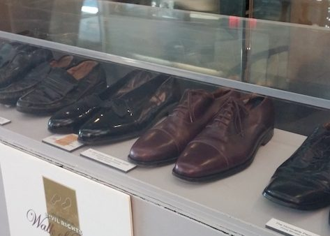 Shoes worn by civil rights marchers were collected and are showcased at the King Center. (Shantella Y. Sherman/The Washington Informer)