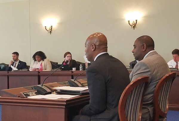 Maryland Delegates Erek Barron (left) and Darryl Barnes testify on a partial expungement bill for non-conviction offenses before the House of Delegates' Judiciary Committee in Annapolis on Jan. 22. Barron is the sponsor of the legislation. (William J. Ford/The Washington Informer)