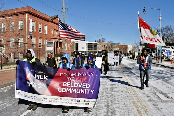 The 2019 Martin Luther King Peace Walk and Parade lead off, going south on Martin Luther King Avenue in Southeast with Mayor Muriel Bowser and a number of Council members bringing greetings. (Courtesy of Maurice Fitzgerald/WI Charities)