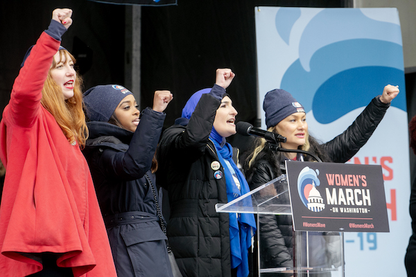 From left: Women's March organizers Linda Sarsour, Tamika Mallory, Carmen Perez, and Bob Bland attend the second annual Women's March on Washington in northwest D.C. on Jan. 19. (Mark Mahoney/The Washington Informer)