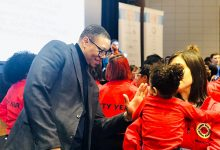 DCPS Chancellor Lewis Ferebee greets students in celebration of the annual MLK Day in D.C. (Courtesy of DCPS)