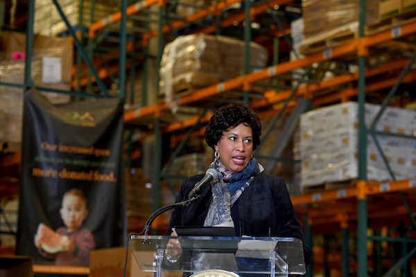 D.C. Mayor Muriel E. Bowser (D) announces her plan for emergency legislation to ease the burden on furloughed federal workers who have to report to work but who are not getting paid during a press conference at the Capital Area Food Bank January 22, 2019 in Washington, DC. Mayor Bowser announces emergency legislation, giving DC Government the ability to provide more federal employees with much-needed unemployment insurance benefits and she calls for an end to the federal government's partial shutdown. (Photo by Katherine Frey/The Washington Post via Getty Images)