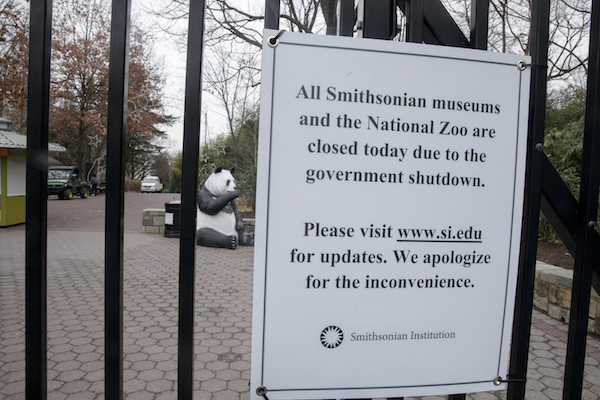 The Smithsonian National Zoo Main gate is closed to the public on Jan. 2, 2019, in Washington, D.C. With the new Congress scheduled to start on Jan. 3, Congressional Democrats and Republicans have not come to a bipartisan solution to President Donald Trump's demands for more money to build a wall along the U.S.-Mexico border (Tasos Katopodis/Getty Images)