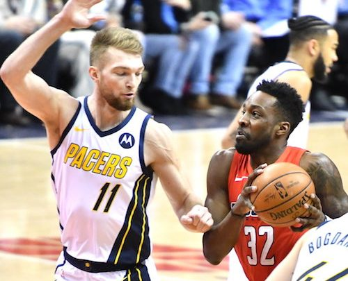 Washington Wizards forward Jeff Green drives against Indiana Pacers forward Domantas Sabonis in the first half of the Wizards' 107-89 victory at Capital One Arena in D.C. on Jan. 30. (John De Freitas/The Washington Informer)