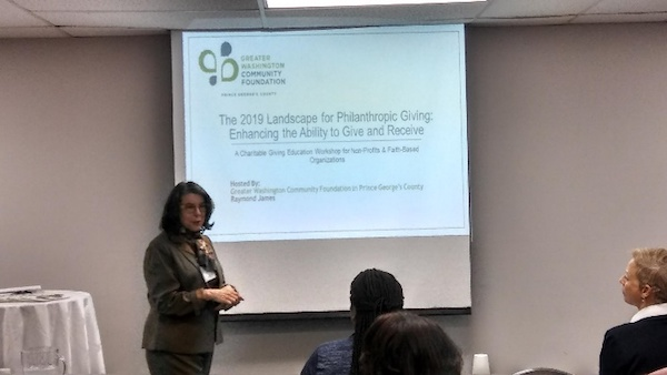 """Rebecca Rothey, Greater Washington Community Foundation's vice president of development and senior philanthropic adviser, speaks during the """"2019 Landscape for Philanthropic Giving: Enhancing the Ability to Give and Receive"""" event at the foundation's Landover, Md., office on Jan. 23. (Courtesy of Greater Washington Community Foundation in Prince George's County)"""