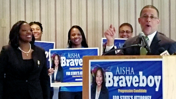 **FILE** Aisha Braveboy (left) receives an endorsement in May for Prince George's County state's attorney from Rep. Anthony Brown (D-Maryland). (William J. Ford/The Washington Informer)