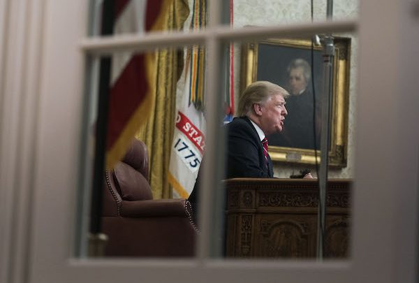 U.S. President Donald Trump speaks during an address on border security in the Oval Office of the White House in Washington, D.C., U.S., on Tuesday, Jan. 8, 2019. Trump demanded Congress provide billions more for border security in a prime-time address to the nation, stopping short of declaring a national emergency and giving little indication of a quick end to a paralyzing political dispute over his proposed wall on the Mexican border. Photographer: Kevin Dietsch/Pool via Bloomberg