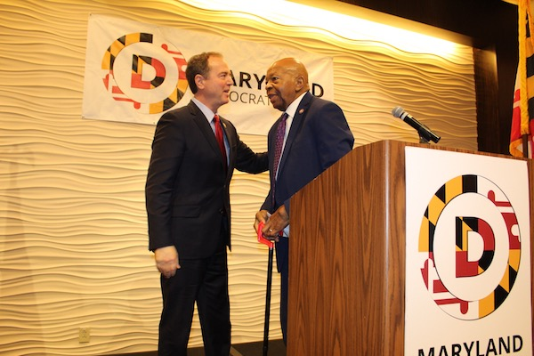 Rep. Adam Schiff (left) greets Rep. Elijah Cummings at the Maryland Democratic Party's 20th annual legislative luncheon in Annapolis on Jan. 8. (Brigette White/The Washington Informer)