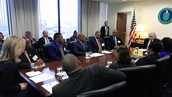 Members of the HBCU Coalition meet to discuss opportunity zones. (Courtesy of Morgan State University)