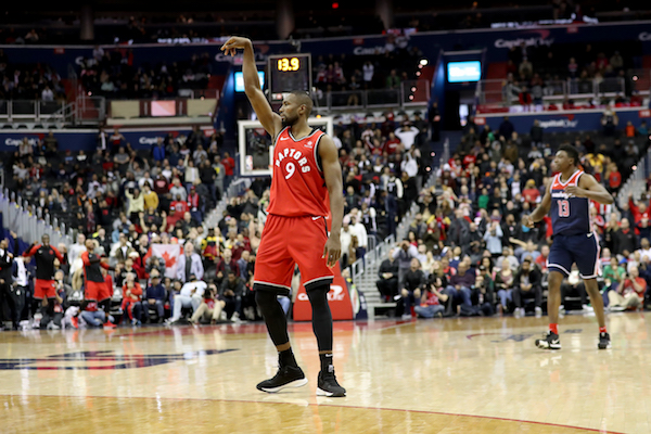Toronto Raptors forward Serge Ibaka follows his game-winning 3-pointer in the Raptors' 140-138 double overtime victory over the Washington Wizards at Capital One Arena in Washington, D.C., on Jan. 13. (Photo by Rob Carr/Getty Images)