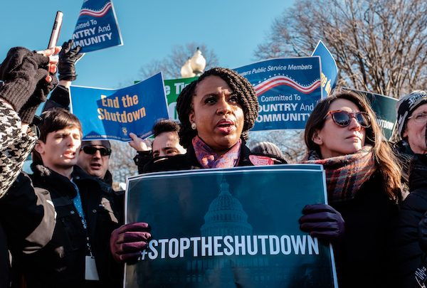Rep. Ayanna Pressley (D-Mass. 7) joins furloughed employees protesting at the White House on Jan. 10. (Michael A. McCoy/The Washington Informer)