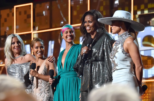 From left: Lady Gaga, Jada Pinkett Smith, Alicia Keys, Michelle Obama and Jennifer Lopez speak onstage during the 61st Annual GRAMMY Awards at Staples Center on February 10, 2019 in Los Angeles, California. (Photo by Lester Cohen/Getty Images for The Recording Academy)