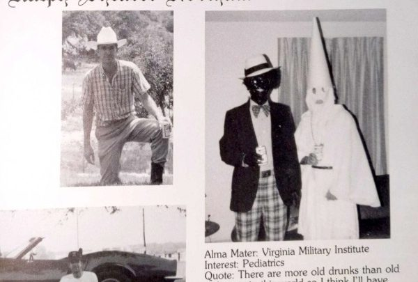 The page for Virginia Gov. Ralph Northam in the 1984 yearbook from Eastern Virginia Medical School shows a photo of a person in blackface and another in Ku Klux Klan robes. Northam admitted to being one of the two people in the photo, but not which.