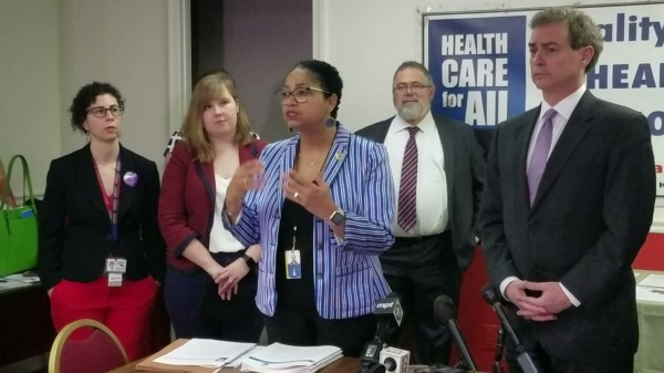 Maryland Delegate Joseline Peña-Melnyk speaks at a Feb. 13 press conference about legislation she and state Sen. Brian Feldman (right) propose to give the state an individual health care mandate. (William J. Ford/The Washington Informer)