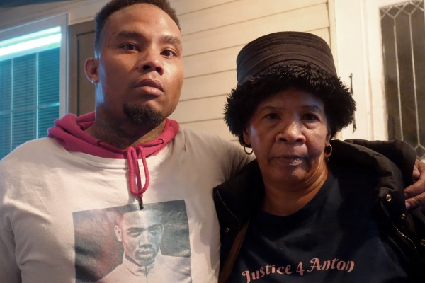 **FILE** Brandon Jackson, brother of Anton Black, and Janell Black, Anton's mother outside the town council meeting in Greensboro Md where a decision was made on whether to place an officer on administrative leave who was involved in the death of a black teenager, Anton Black The photo is of the dead teens' older brother and mother standing outside the town hall last Thursday night waiting for the decision. January 3, 2019 on the porch of the Greensboro Town Hall on Main Street in Greensboro, MD (Photo by Courtland Milloy/The Washington Post via Getty Images)
