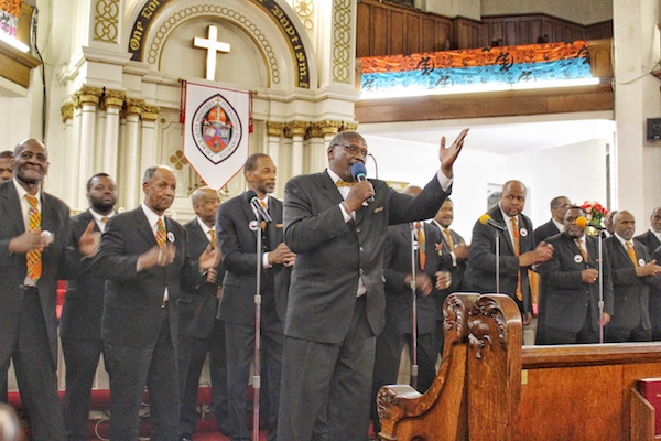 One of several local choirs sing hymns and spirituals during the African-American men's gospel concert at Greater New Hope Baptist Church in northwest D.C. on Feb. 17. (Brigette Squire/The Washington Informer)