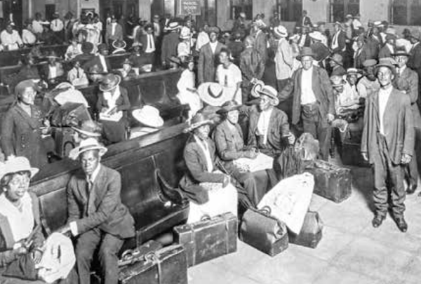 African Americans wait for a northbound train in Jacksonville, Florida, in 1921. (Courtesy of Upfront Scholastic)